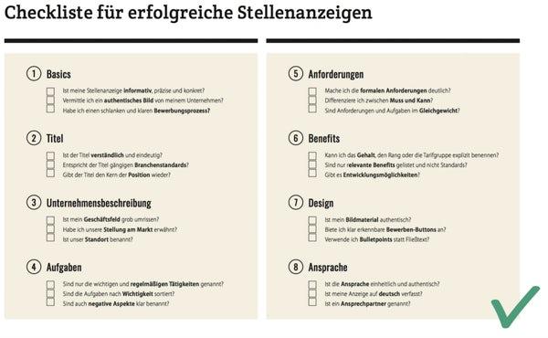 Checkliste Stellenanzeige