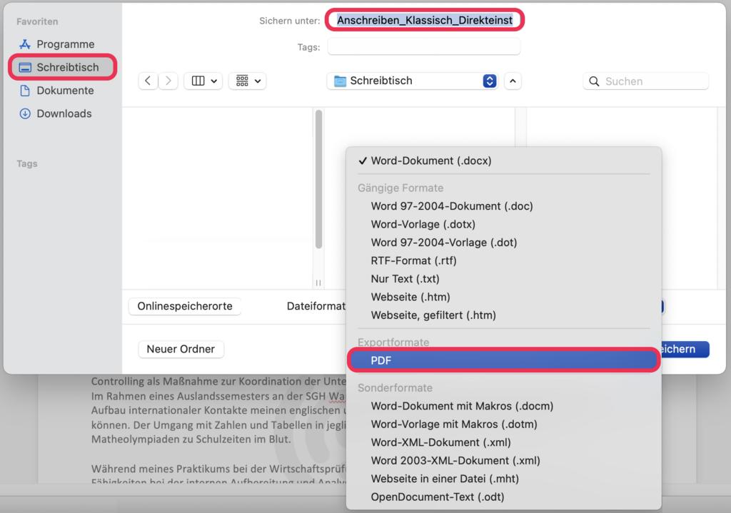 Word als PDF speichern
