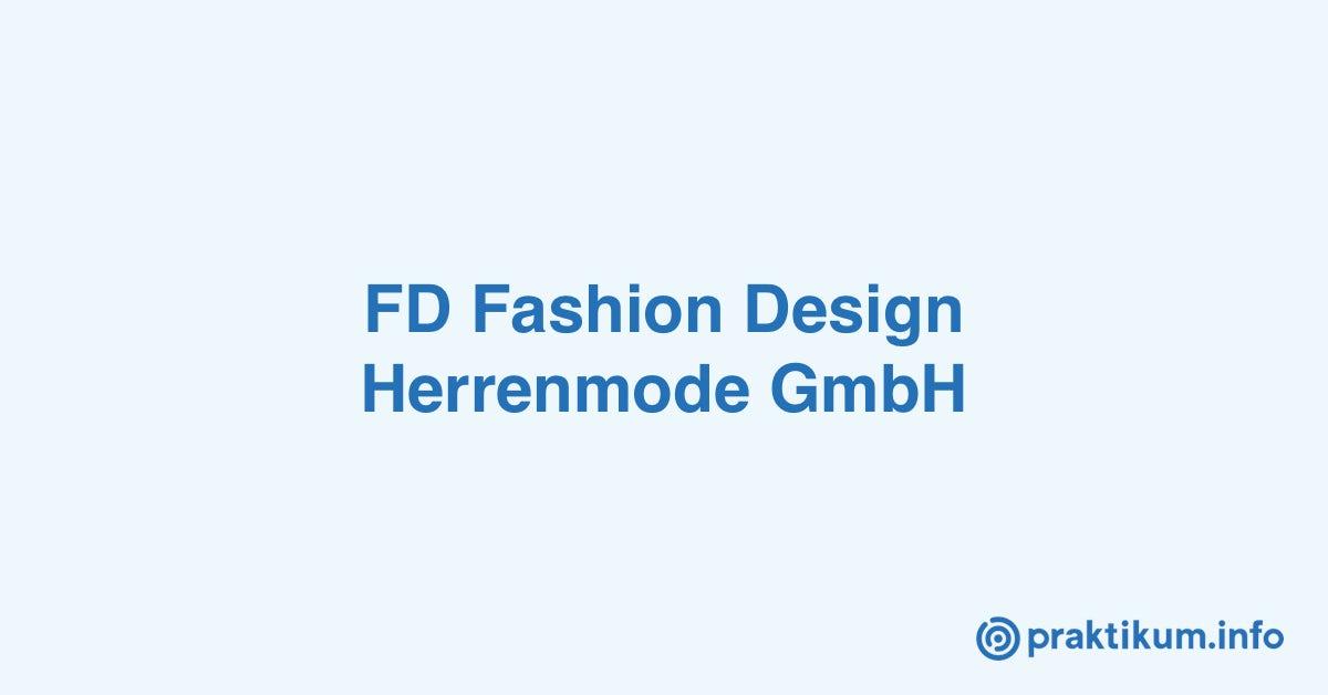 Internship Sales Controller Menswear M W D Bei Fd Fashion Design Herrenmode Gmbh