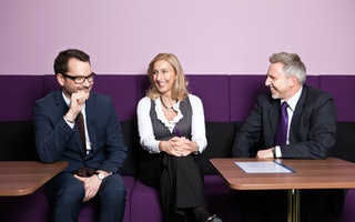 Unsere Mitarbeiter Michael Edelmann, Elke Labuska und Helge Köhlbrandt in der Nestlé Lounge